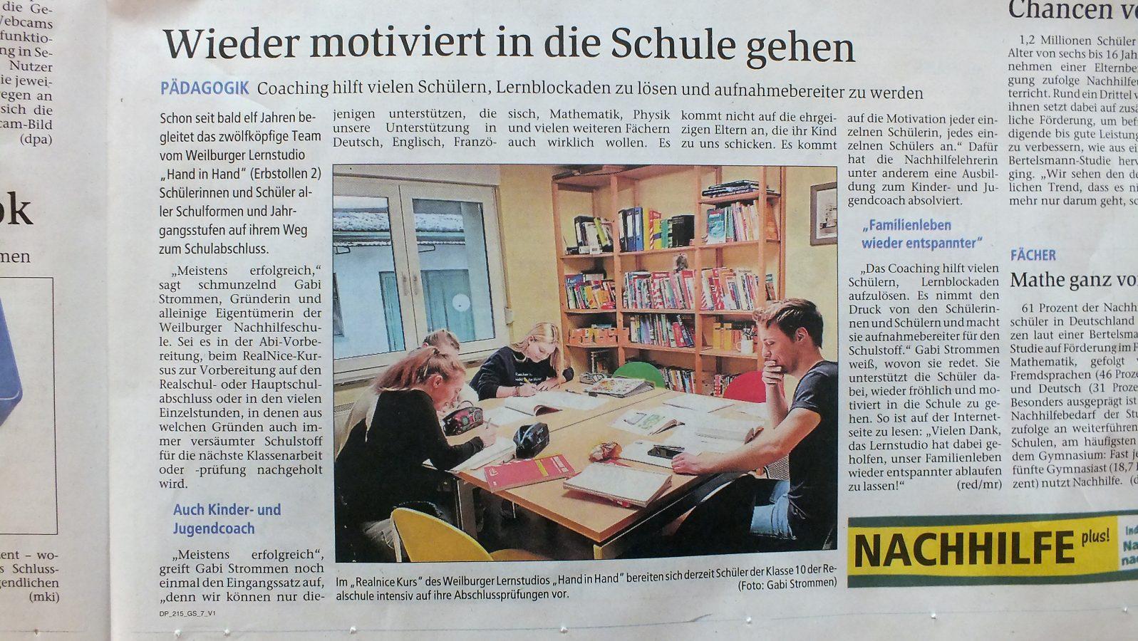 Unterstützung bei Schulproblemen bietet das Lernstudio Hand in Hand in Weilburg