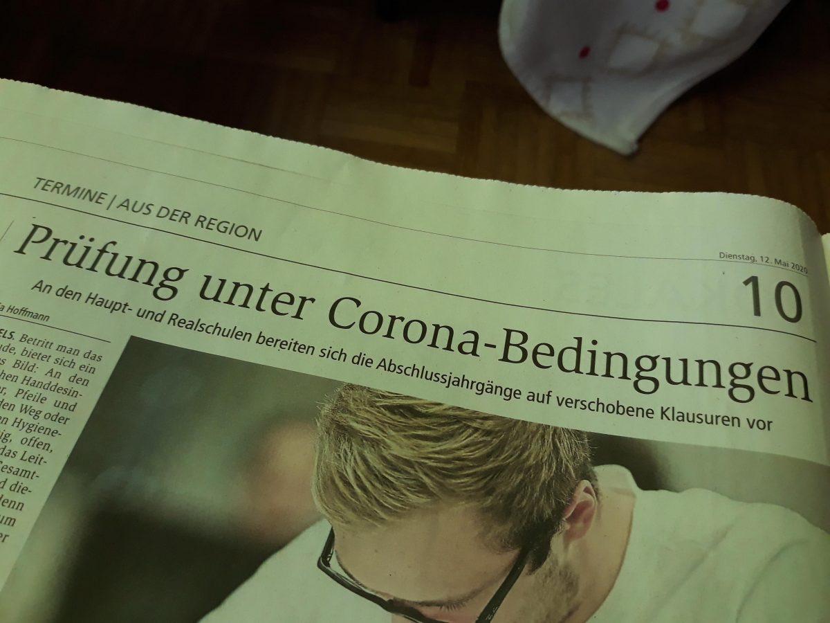 Haupt- und Realschulprüfungen stehen an. Foto einer Seite des Weilburger Tageblattes vom 12. Mai 2020